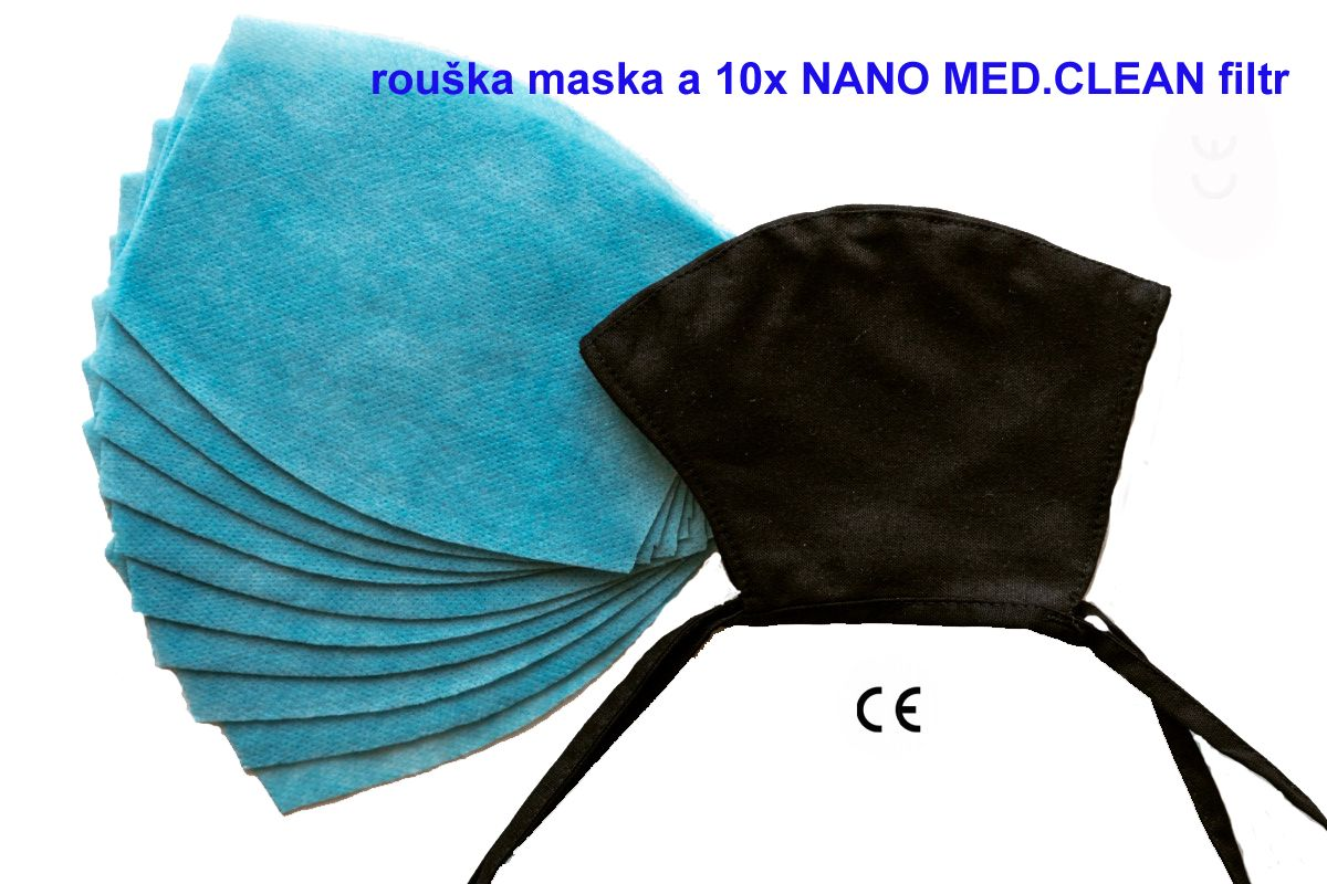Nano Medical NANO MED.CLEAN rouška maska černá + 10x NANO MED.CLEAN filtr