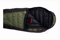 Péřový spacák Warmpeace Viking 600 olive / grey / black - 170 cm pravý