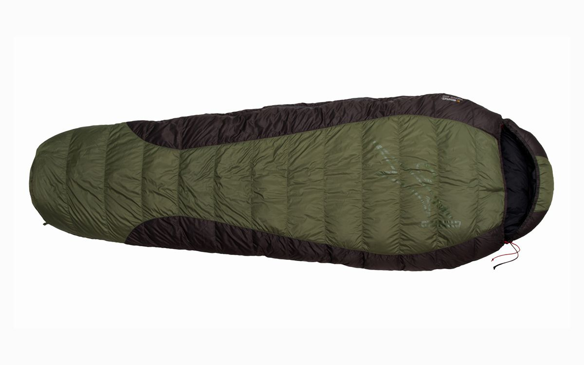 Péřový spacák Warmpeace Viking 600 olive / grey / black - 180 cm pravý