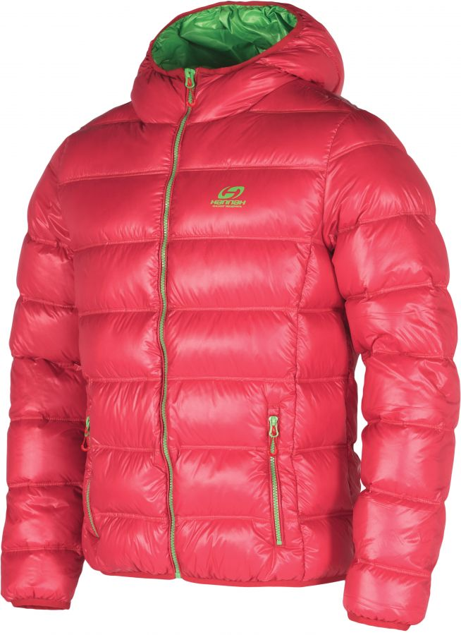 HANNAH MORAN HOODY MAN péřová bunda Red/green