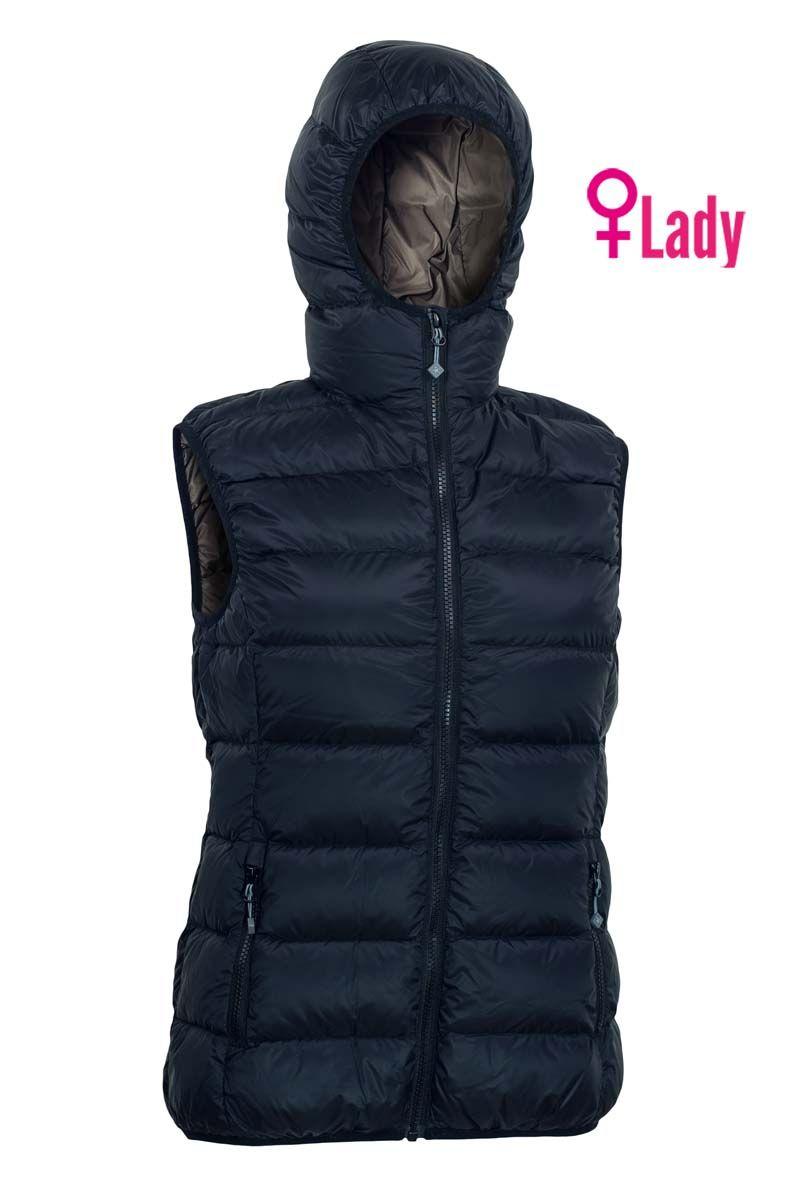 Warmpeace Yuba lady black/brown dámská péřová vesta