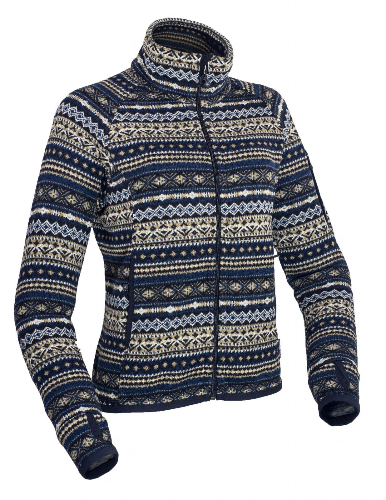 Warmpeace Norwega lady navy dámská bunda z fleecového materiálu se svetrovým vzorem