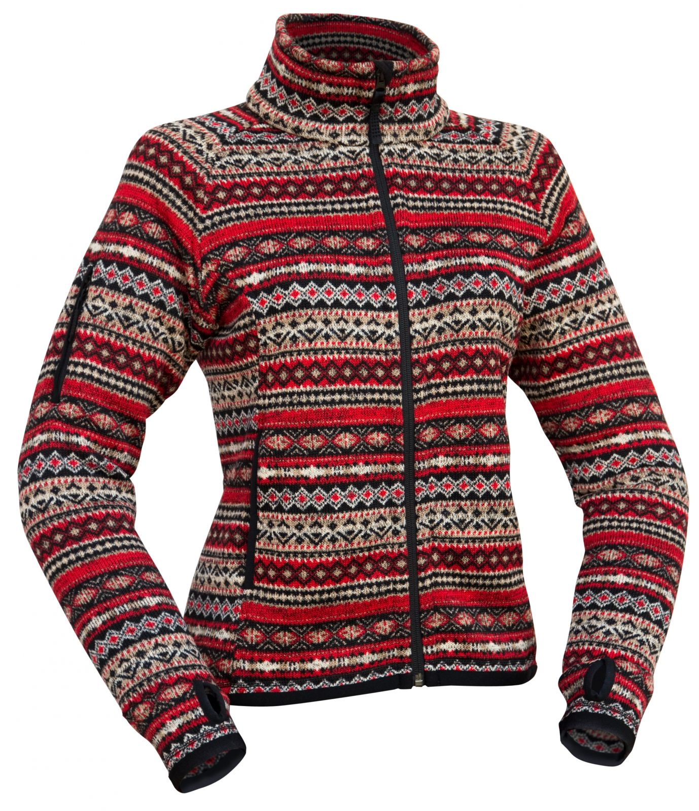 Warmpeace Norwega lady red dámská bunda z fleecového materiálu se svetrovým vzorem